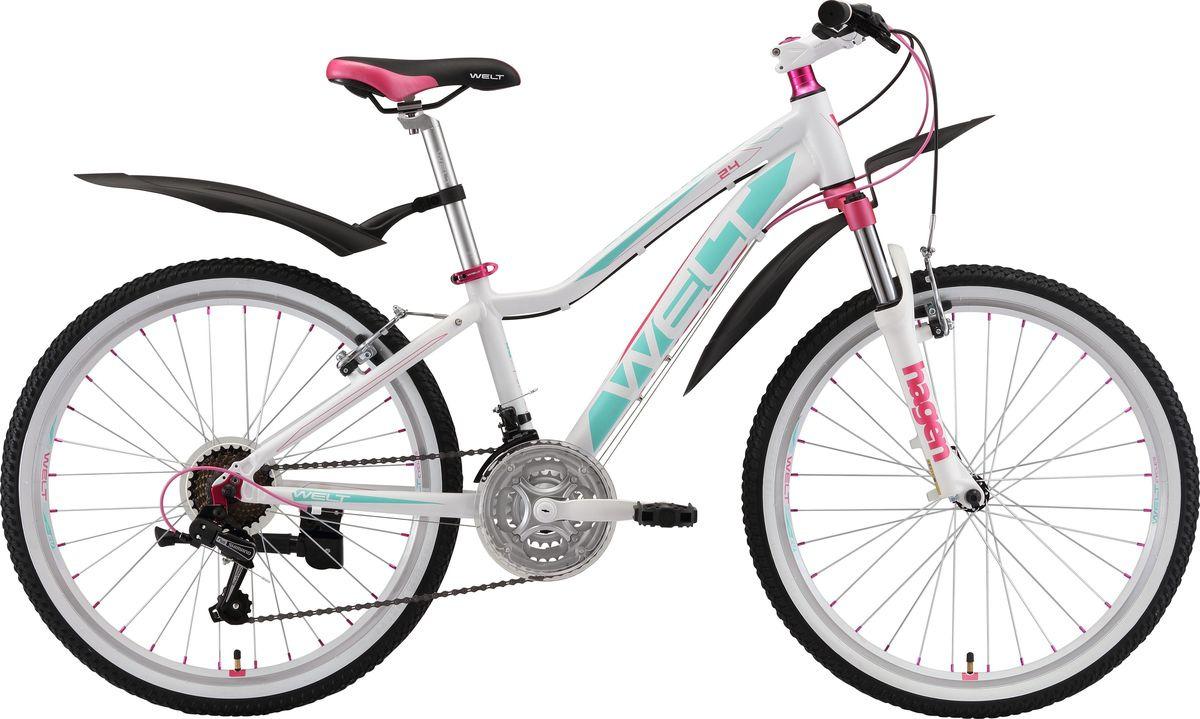 Велосипед детский Welt Edelweiss 24 2019, белый, зеленый, розовый, диаметр колес 24