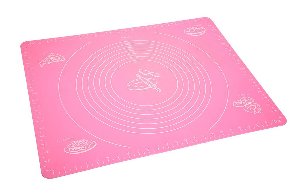 Коврик для теста MARKETHOT Силиконовый коврик для раскатывания теста, розовый