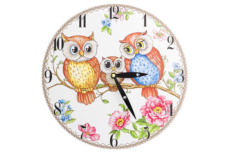 Настенные часы Elan Gallery Совушки, белый, коричневый, розовый