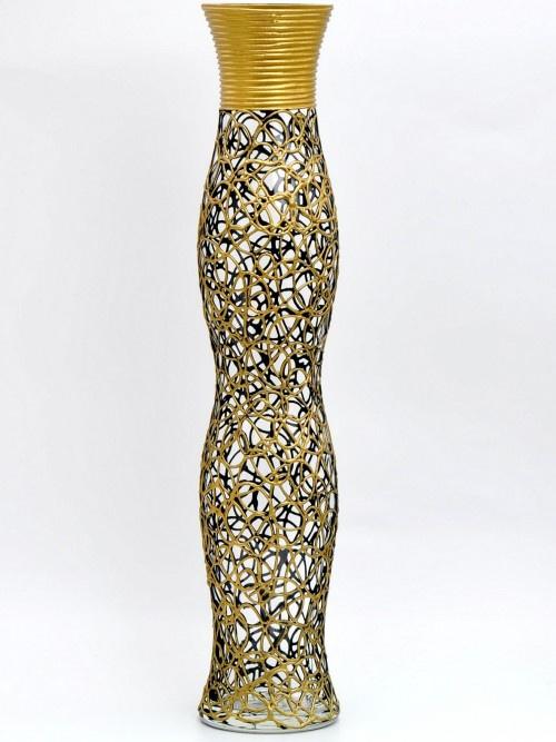 Ваза Яркий штрих 6778/500, золотой6778/500/888Стеклянная ваза, ручная роспись, высота 180 мм