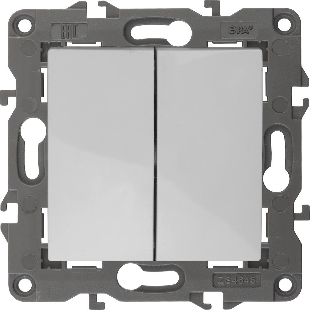 Переключатель ЭРА Elegance, двойной, 14-1106-01, белый, 10АХ-250В цена
