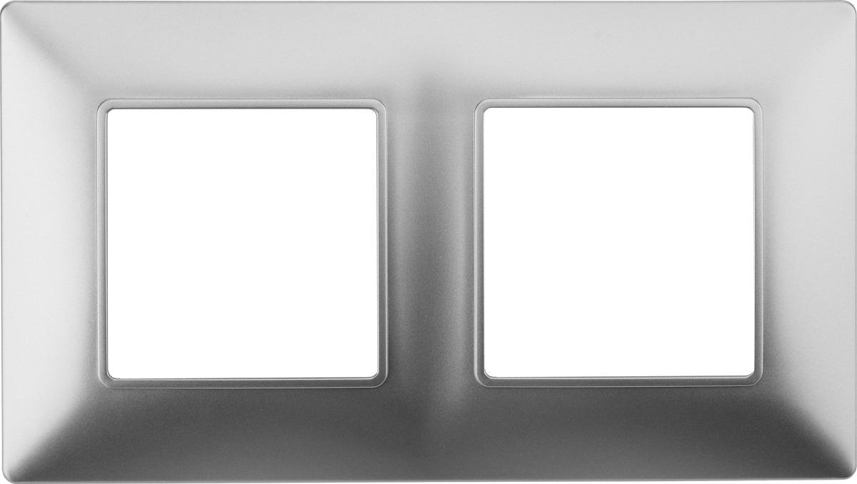 Рамка электроустановочная ЭРА Elegance, на 2 поста, 14-5002-03, алюминий рамка электроустановочная эра elegance на 2 поста 14 5002 05 антрацит