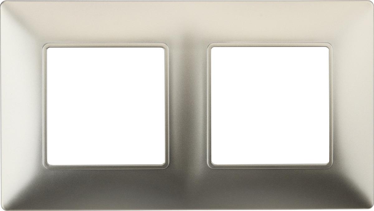 Рамка электроустановочная ЭРА Elegance, на 2 поста, 14-5002-04, шампань рамка электроустановочная эра elegance на 2 поста 14 5002 05 антрацит