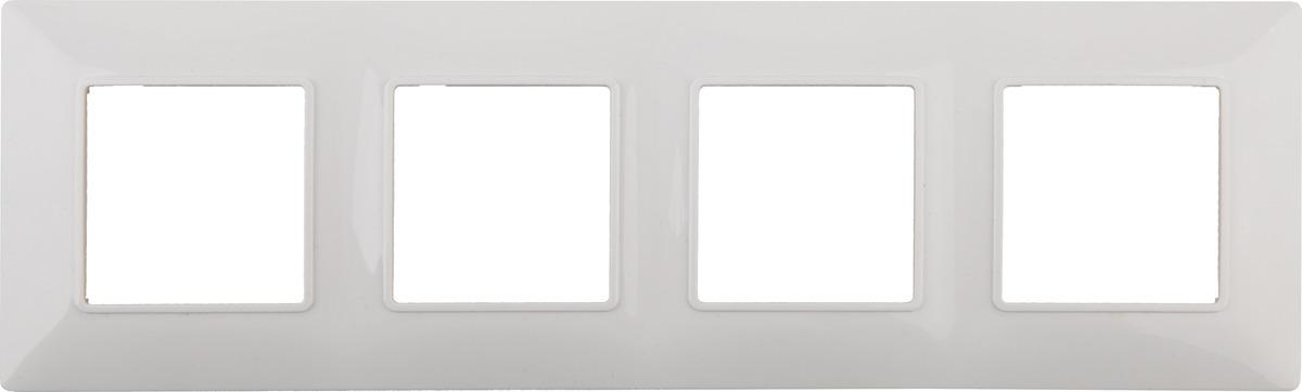 цена на Рамка электроустановочная ЭРА Elegance, на 4 поста, 14-5004-01, белый