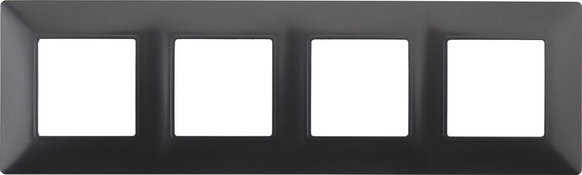 Рамка электроустановочная ЭРА Elegance, на 4 поста, 14-5004-05, антрацит рамка электроустановочная эра elegance на 2 поста 14 5002 05 антрацит