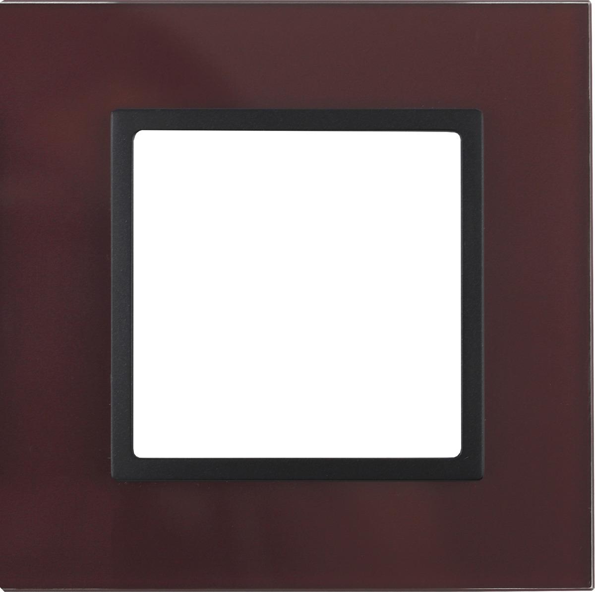 Рамка электроустановочная ЭРА Elegance, на 1 пост, 14-5101-25, бордовый, антрацит