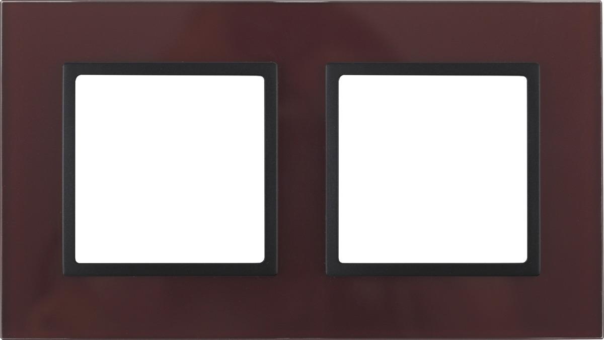 Рамка электроустановочная ЭРА Elegance, на 2 поста, 14-5102-25, бордовый, антрацит рамка электроустановочная эра elegance на 2 поста 14 5002 05 антрацит