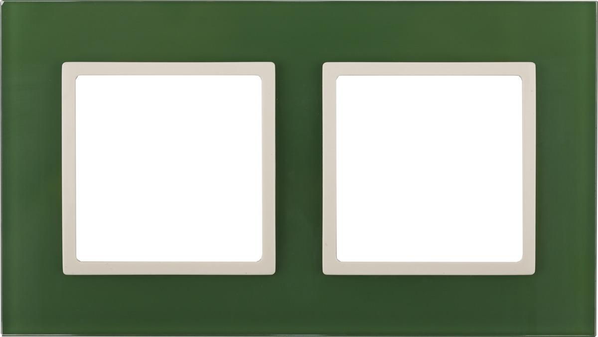 Рамка электроустановочная ЭРА Elegance, на 2 поста, 14-5102-27, зеленый, слоновая кость