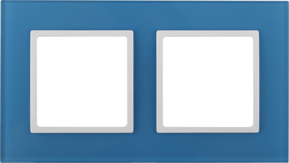Рамка электроустановочная ЭРА Elegance, на 2 поста, 14-5102-28, голубой, белый14-5102-28Рамка на 2 поста, стекло, Эра Elegance, голубой+бел