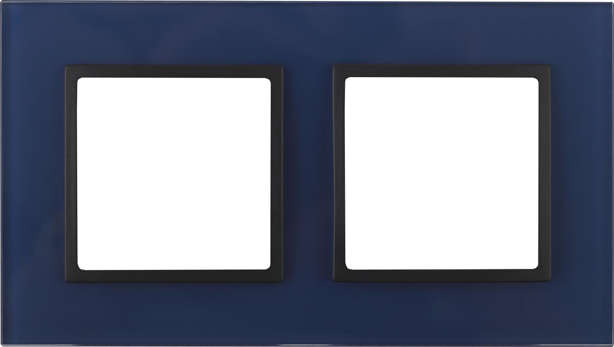 Рамка электроустановочная ЭРА Elegance, на 2 поста, 14-5102-29, синий, антрацит рамка электроустановочная эра elegance на 2 поста 14 5002 05 антрацит