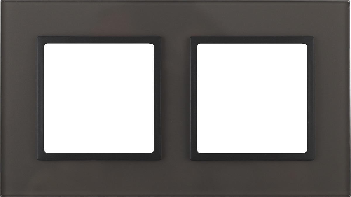 Рамка электроустановочная ЭРА Elegance, на 2 поста, 14-5102-32, серый, антрацит рамка электроустановочная эра elegance на 2 поста 14 5002 05 антрацит