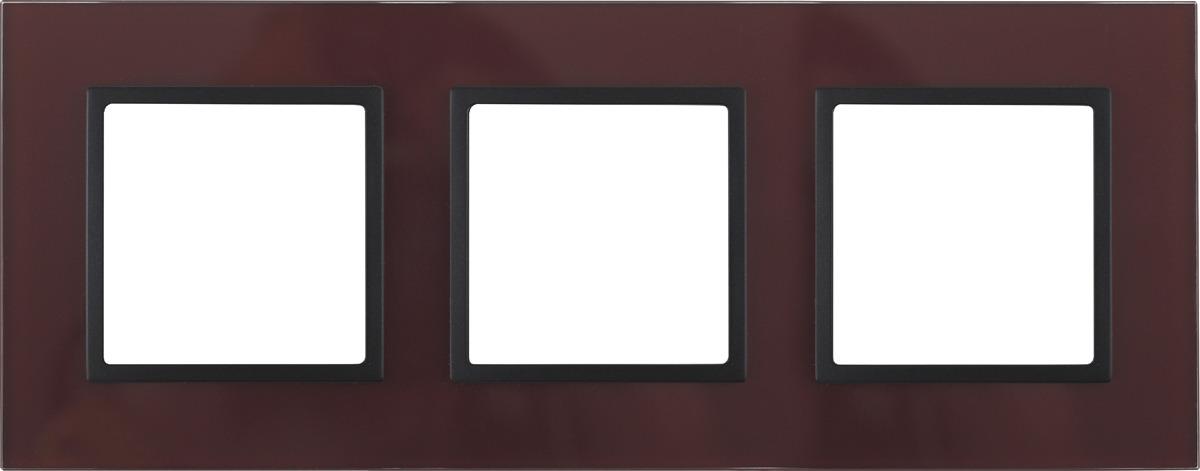Рамка электроустановочная ЭРА Elegance, на 3 поста, 14-5103-25, бордовый, антрацит