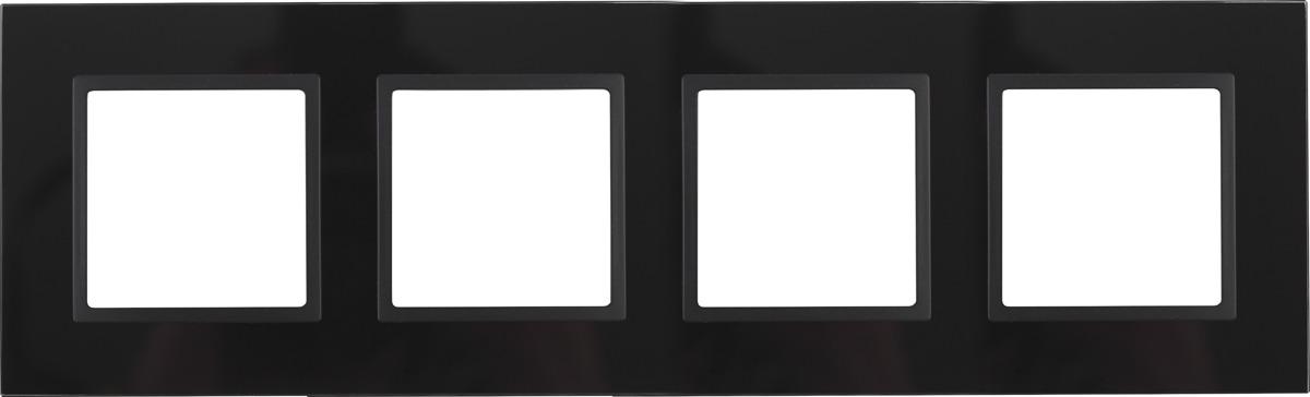 Рамка электроустановочная ЭРА Elegance, на 4 поста, 14-5104-05, антрацит, черный рамка электроустановочная эра elegance на 2 поста 14 5002 05 антрацит