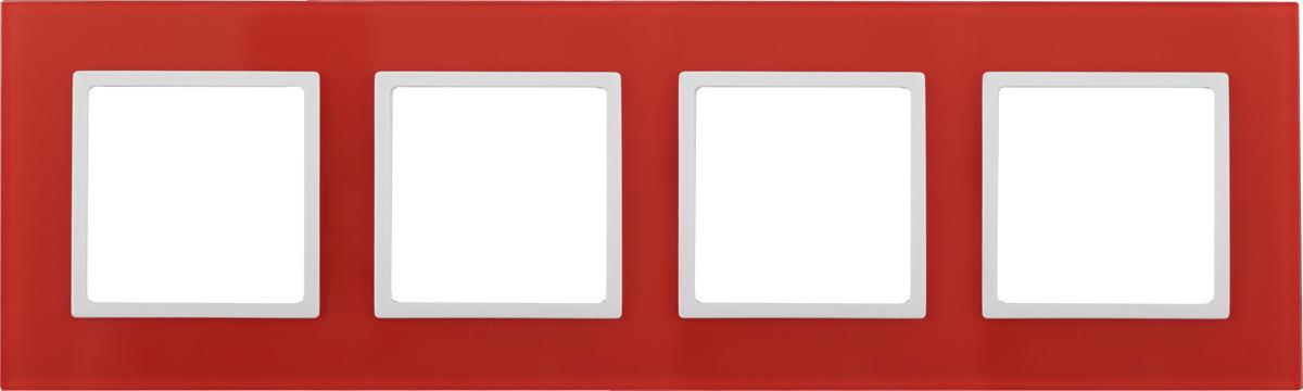 Рамка электроустановочная ЭРА Elegance, на 4 поста, 14-5104-23, красный, белый14-5104-23Рамка на 4 поста, стекло, Эра Elegance, красный+бел