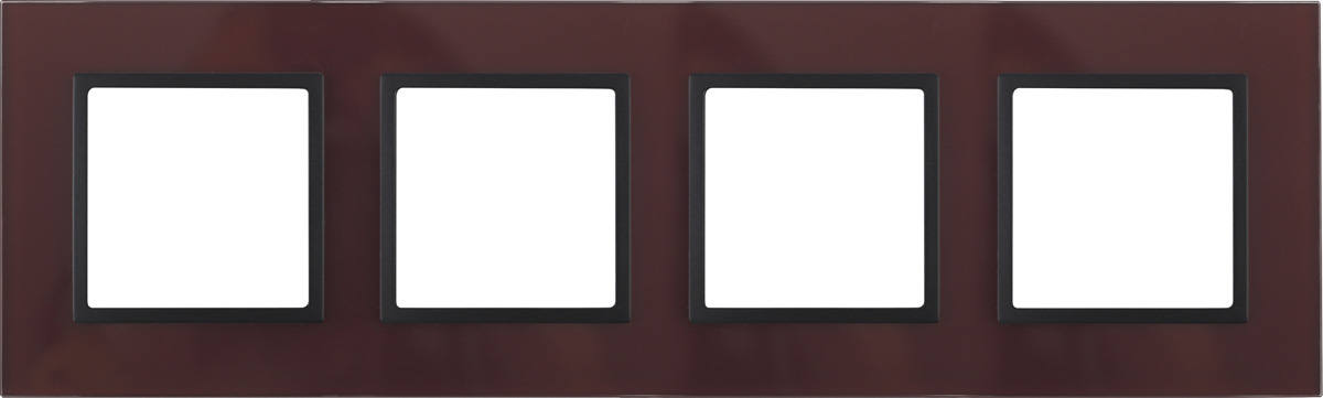 Рамка электроустановочная ЭРА Elegance, на 4 поста, 14-5104-25, бордовый, антрацит