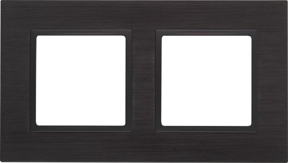 Рамка электроустановочная ЭРА Elegance, на 2 поста, 14-5202-05, антрацит, черный рамка электроустановочная эра elegance на 2 поста 14 5002 05 антрацит