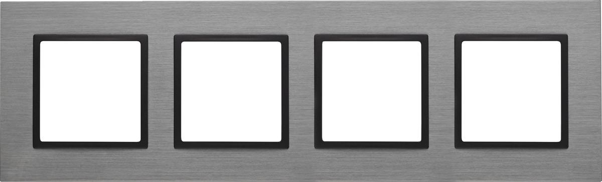 Рамка электроустановочная ЭРА Elegance, на 4 поста, 14-5204-42, серый14-5204-42Рамка на 4 поста, металл, Эра Elegance, титан+антр