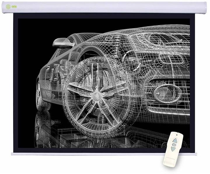 Проекционный экран Cactus Motoscreen CS-PSM-150x150 1:1, настенно-потолочный, моторизованный, белый цена и фото