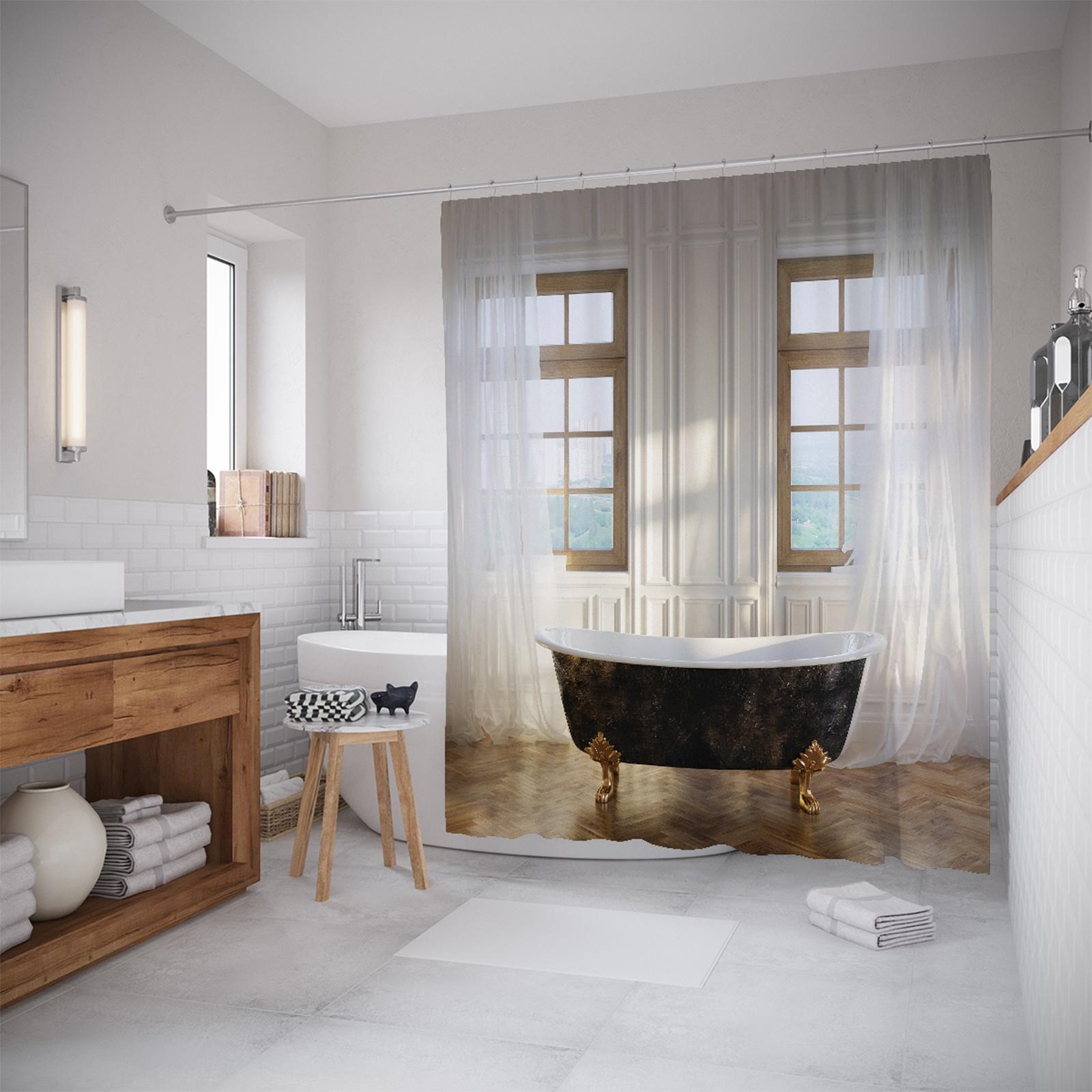 Штора для ванной JoyArty шв_10996, белый, черный