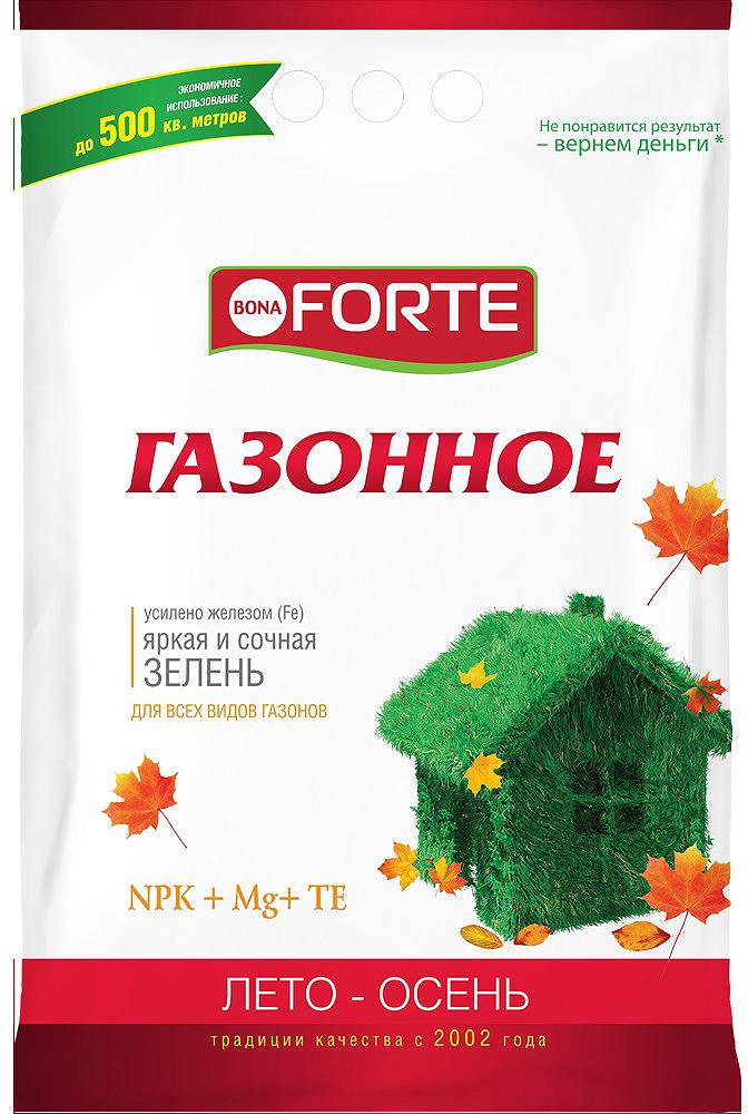Удобрение комплексное Bona Forte Газонное осень, с микроэлементами, BF23010461, 5 кг удобрение газонное весна лето 5 0 кг