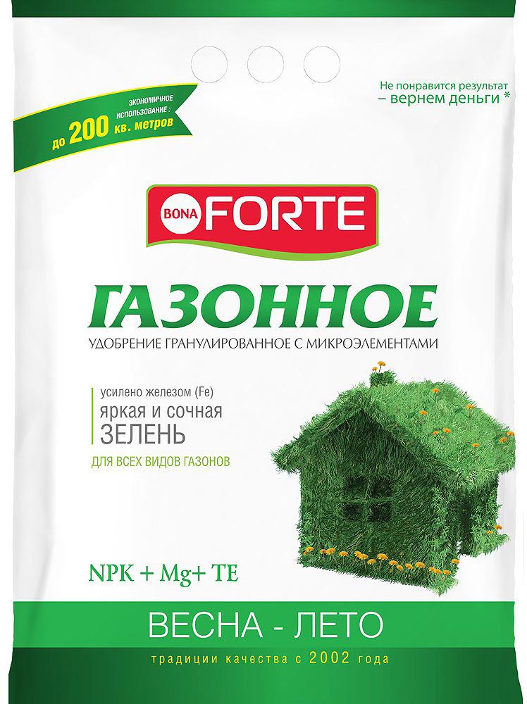 Удобрение комплексное Bona Forte Газонное весна, с микроэлементами, BF23010711, 4,5 кг удобрение газонное весна лето 5 0 кг