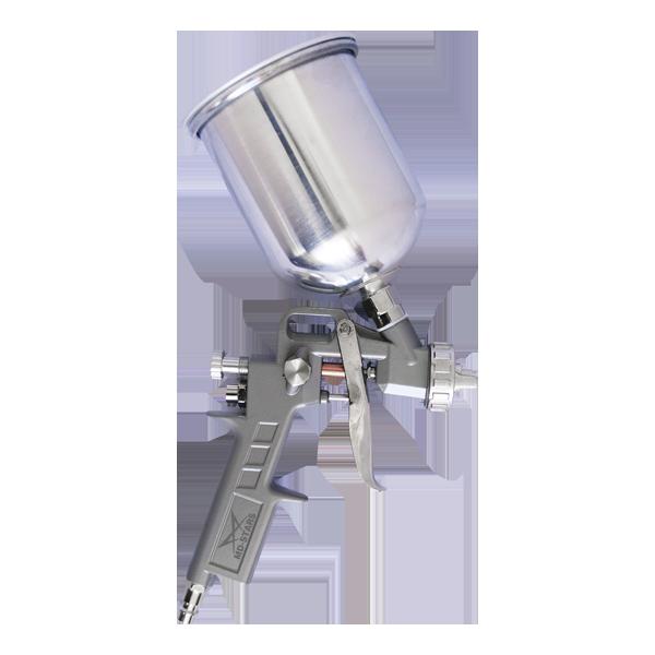 Пневматический краскопульт MD-STARS 162А1 1,5162А1 1,5Краскораспылитель MD-STARS предназначен для проведения покрасочных работ. Бак краскопульта располагается сверху и способен вместить в себя 0,6 литров краски. Диаметр сопла данной модели составляет 1,5 мм. Металлическая конструкция пистолета говорит о его надежности.