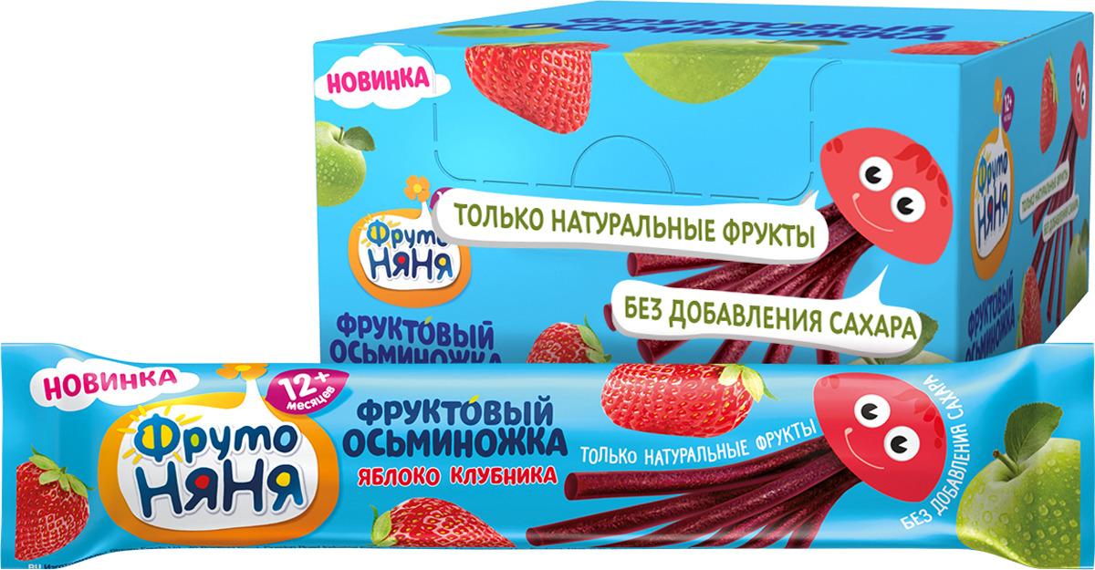 Десерт для детей ФрутоНяня Фруктовые кусочки из яблок и клубники, 24 шт по 16 г