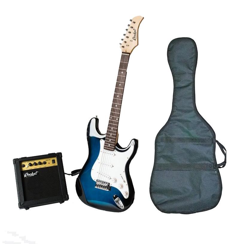 Электрогитара RockEt ST-01BL PACK, синий, белый, черный
