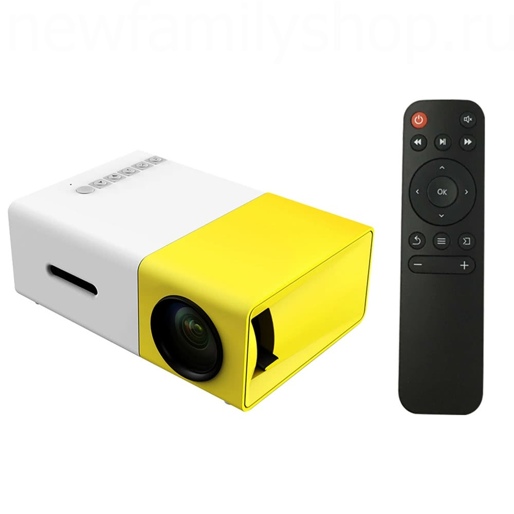 Мультимедийный проектор LED PROJECTOR YG-300, белый, желтый