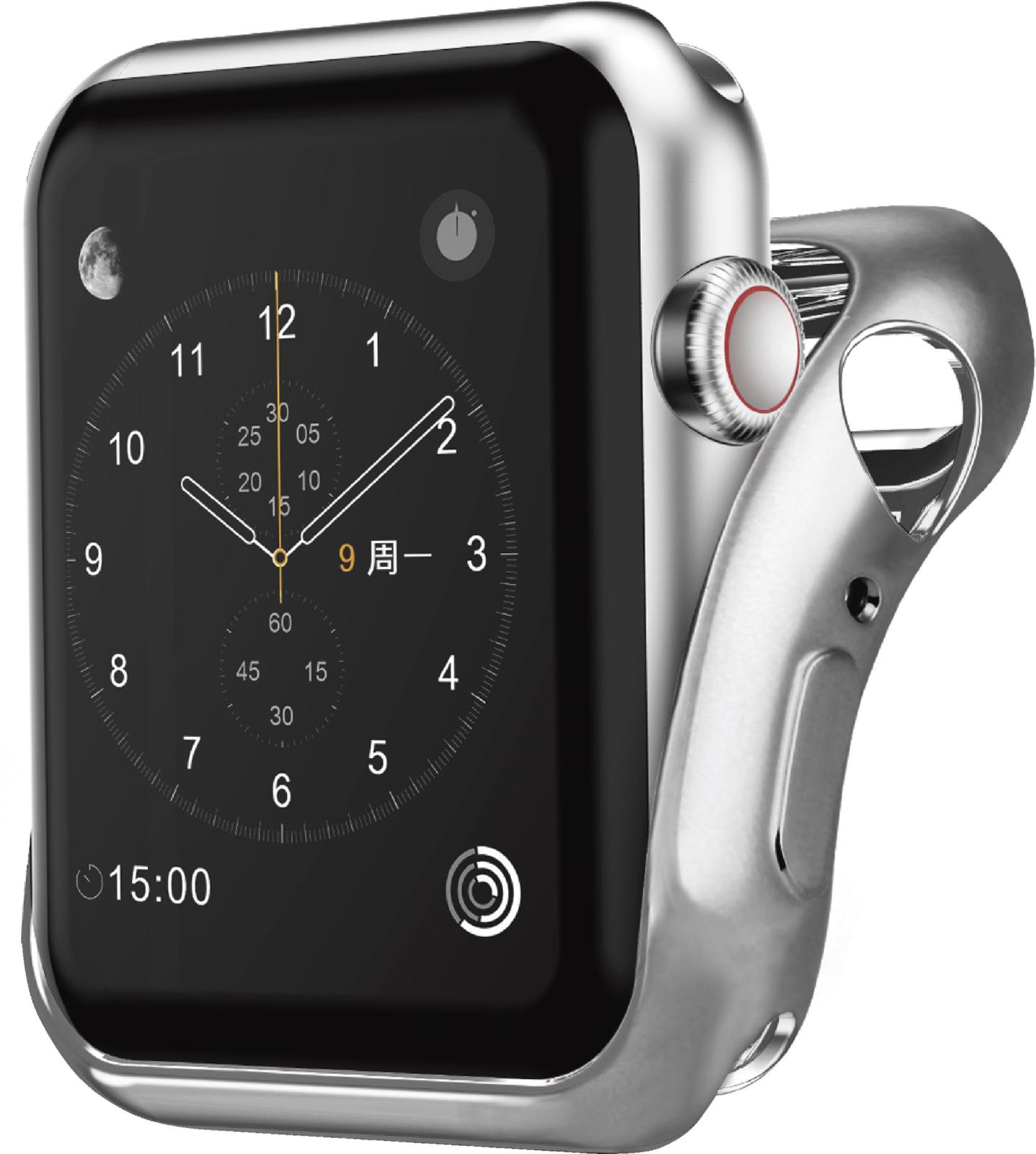 Чехол для смарт-часов Interstep Спортивный для Apple Watch 38mm, серебристый аксессуар ремешок gurdini sport silicone для apple watch 38mm fog 906166