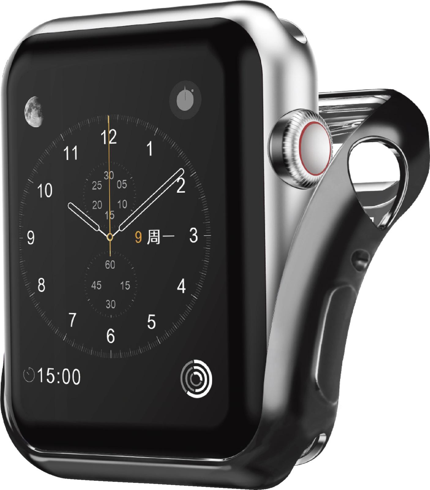 Чехол для смарт-часов Interstep Спортивный для Apple Watch 42mm, черный аксессуар ремешок gurdini sport silicone для apple watch 42mm dark teal 906173