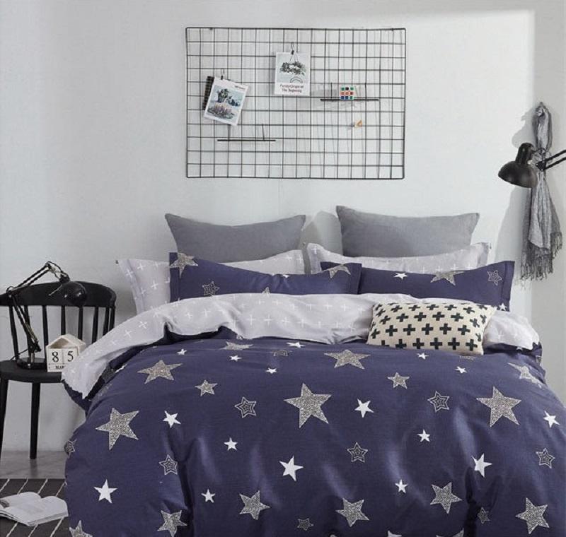 Комплект постельного белья Дом Текстиля SULYAN Звездная ночь, синий, темно-синий, светло-серый, белый, серый цена и фото
