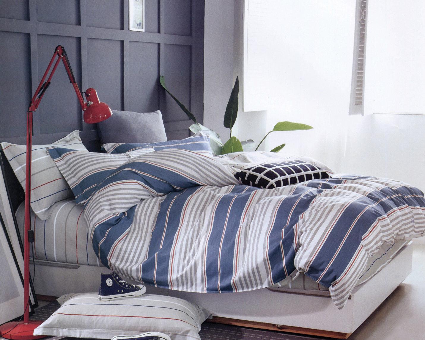 Комплект постельного белья Дом Текстиля SULYAN Рафаэль, синий, светло-серый, серый, красный, белый, темно-серый цена и фото