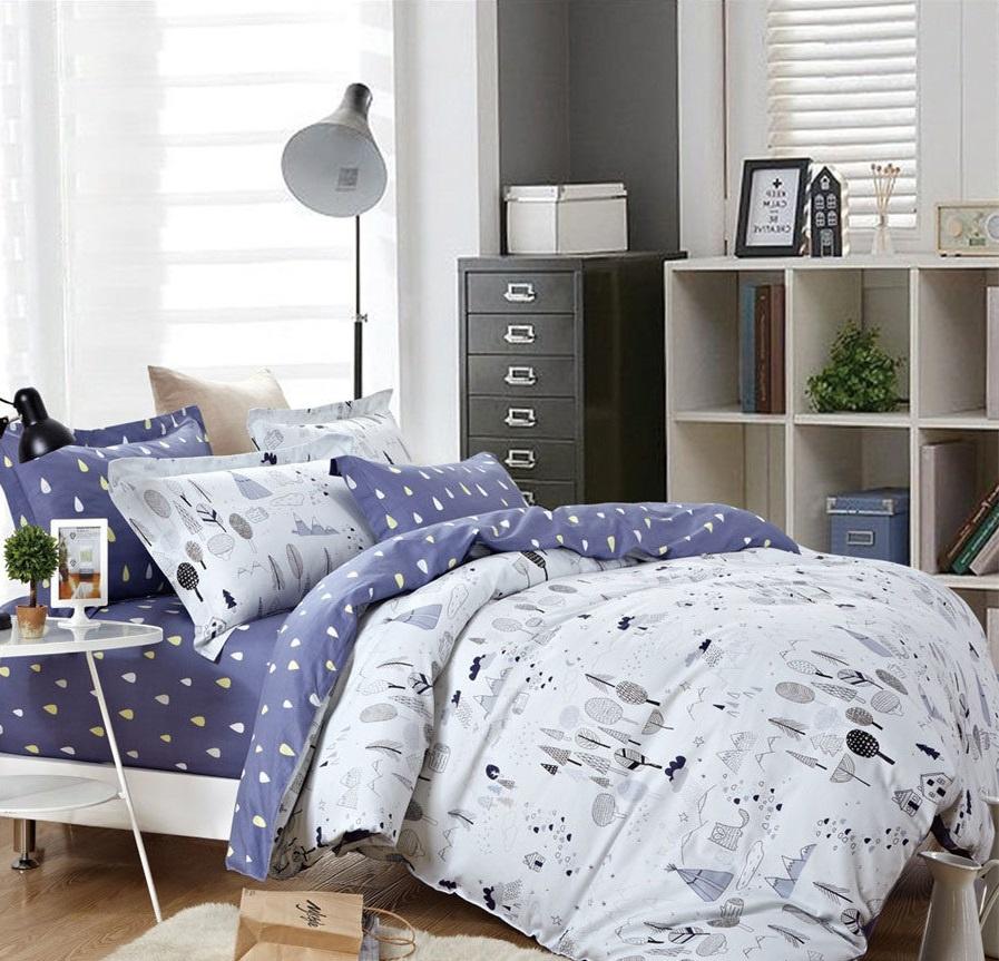 Комплект постельного белья Дом Текстиля SULYAN Сибирь, белый, светло-серый, серый, синий, желтый цена и фото