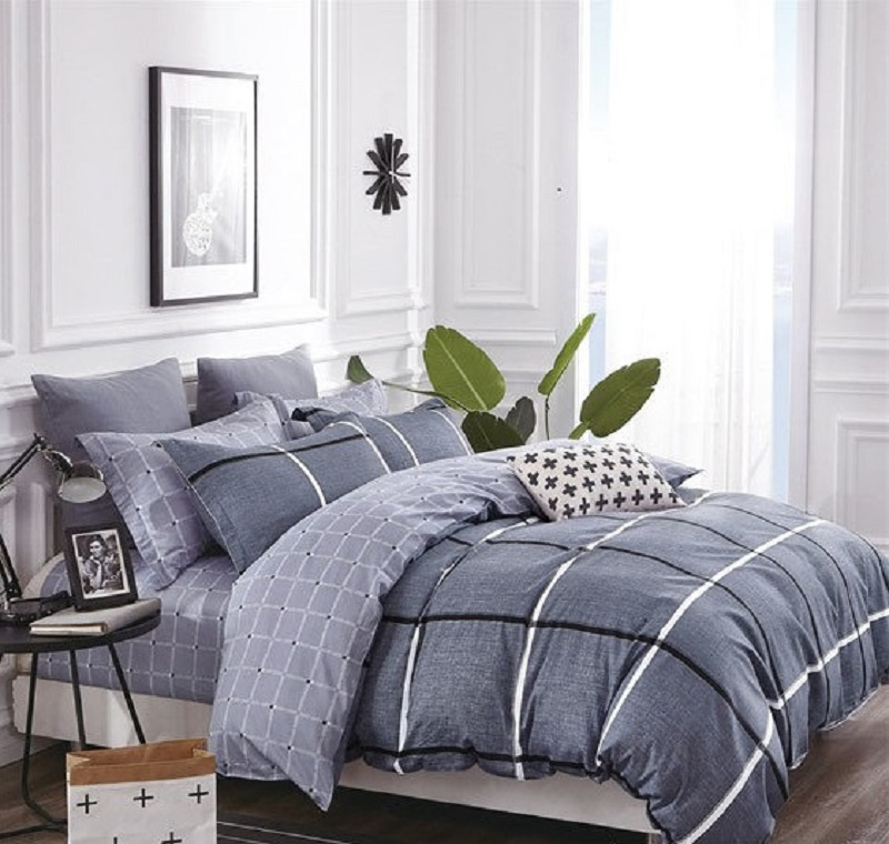Комплект постельного белья Дом Текстиля SULYAN Брют, синий, серый, белый, темно-серый цена и фото