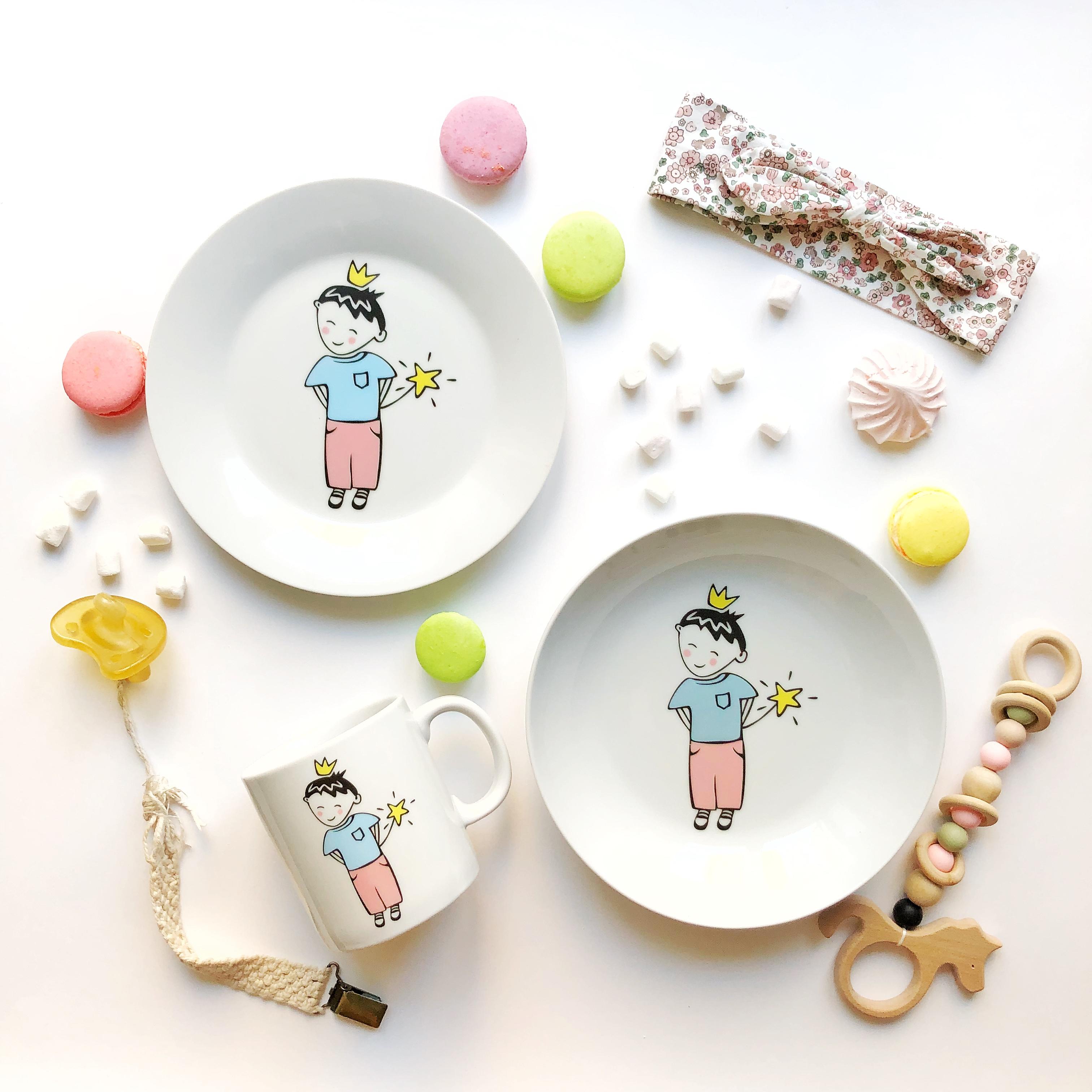 Набор столовой посуды Сотвори Чудо Набор посуды Маленький король (3 в 1: кружка+тарелка+глубокая тарелка Sans Brides), белый тарелка мелкая сотвори чудо бантик sans brides диаметр 20 см