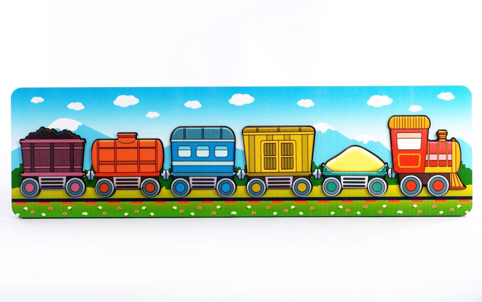 Обучающая игра Нескучные игры Пазл-рамка для малышей Паровозик с вагончиками 7969