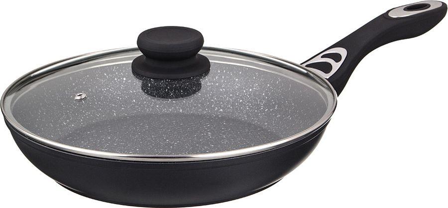 Сковорода Agness Black Marble, с антипригарным покрытием и крышкой, 918-108, черный, диаметр 26 см