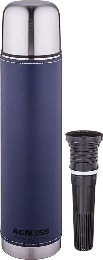 Термос Agness, со съемным фильтром, 910-730, темно-синий, 1 л