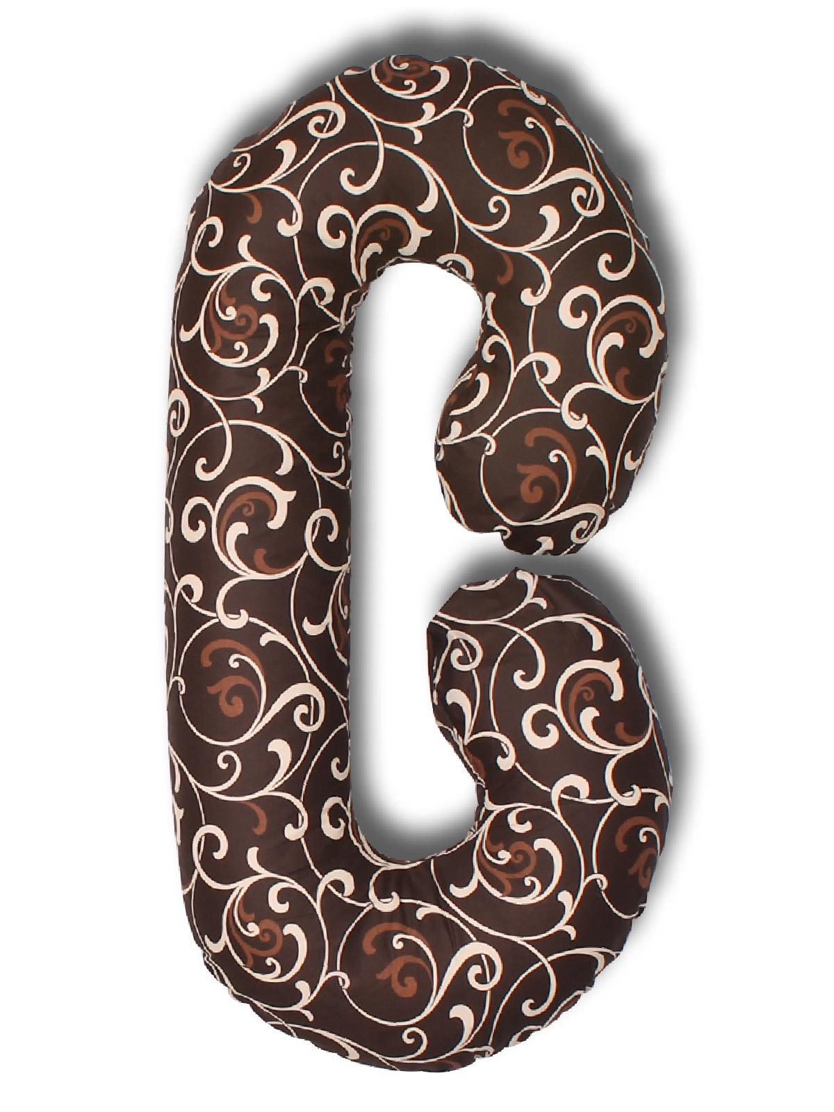 Чехол для подушки для беременных Body Pillow форма С вензеля, шоколадный