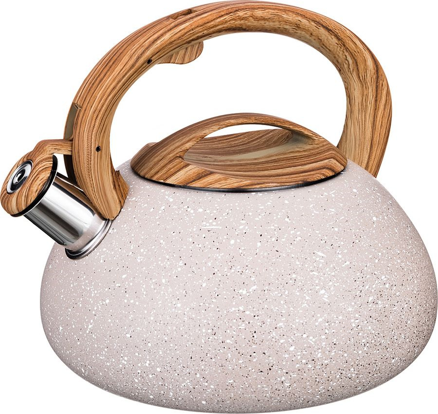 Чайник Agness Арктик, со свистком, 907-082, бежевый, 3 л чайник agness 3 л узор