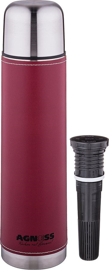 Термос Agness Рубин, со съемным фильтром, 910-727, красный, 1 л910-727ТЕРМОС AGNESS СО СЪЕМНЫМ ФИЛЬТРОМ 1000 МЛ (КОР=24ШТ.)