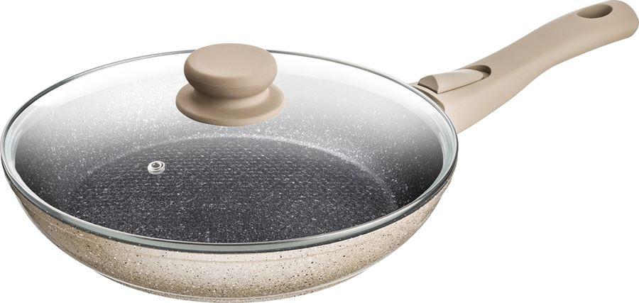 Сковорода Agness Арктик, с антипригарным покрытием и крышкой, 918-166, бежевый, диаметр 22 см