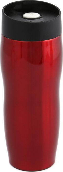Термокружка Agness Red Star, с кнопкой-стопером, 709-021, красный, 400 мл
