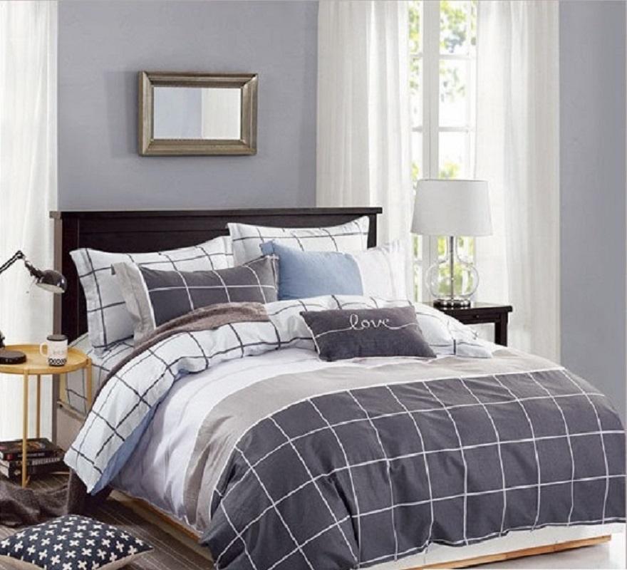 Комплект постельного белья Дом Текстиля SULYAN Джек Дэниелс, коричневый, светло-коричневый, серый, светло-серый цена и фото