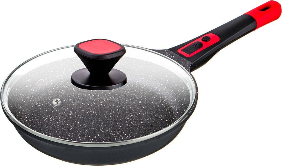 Сковорода Agness Magnetic, с антипригарным покрытием и крышкой, 946-005, черный, диаметр 24 см