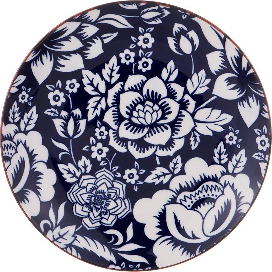 Тарелка Agness, 585-097, белый, синий, диаметр 20 см тарелка gotoff цвет белый диаметр 20 5 см
