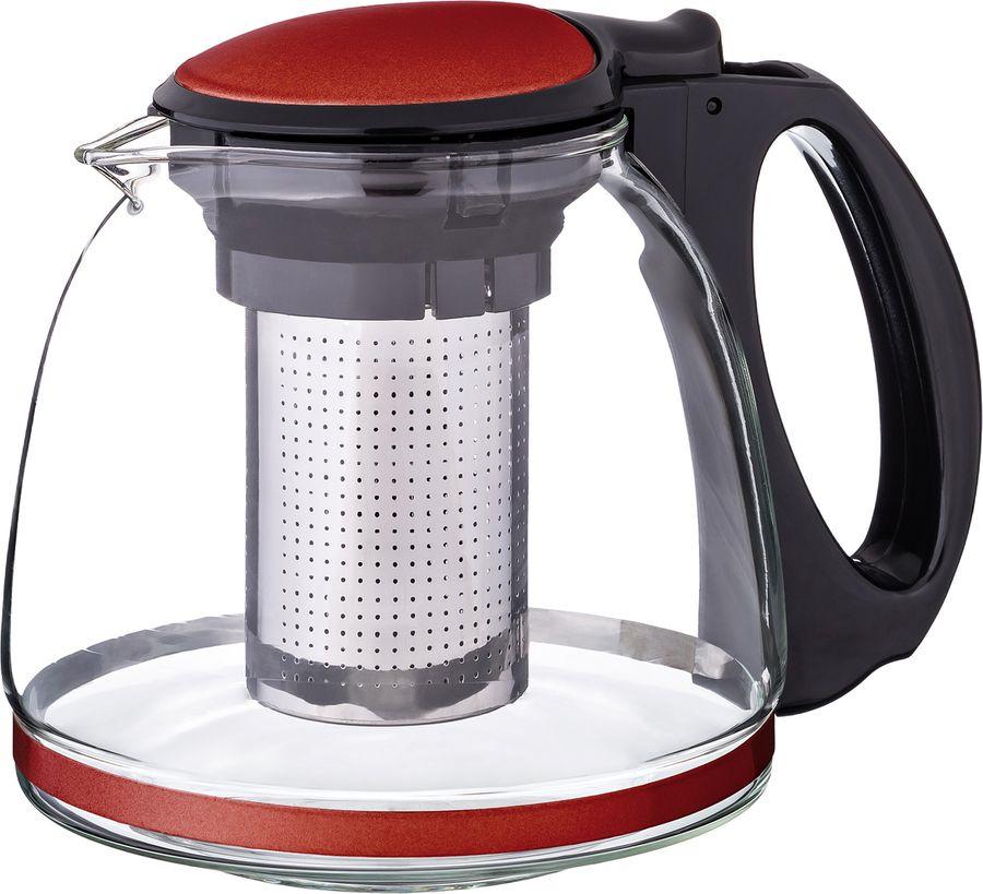 цена на Чайник заварочный Agness, с фильтром, 884-030, черный, красный, 1,1 л