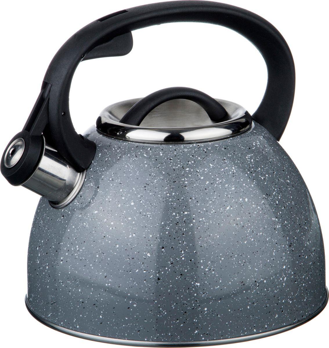 цена на Чайник Agness Монблан, со свистком, 907-064, серый, 2,5 л