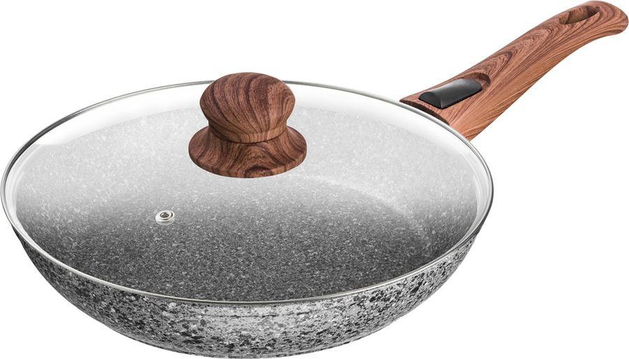 Сковорода Agness Монблан, с антипригарным покрытием, 918-506, серый, диаметр 24 см сковорода supra katai sad k242f 24см без крышки темно серый